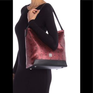 MCM Red Leather Hobo Bag
